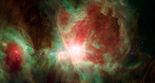 "The <a href=""http://www.nasa.gov/content/spitzers-orion/#.VI8dMifwNBK"" target=""_blank"">Orion Nebula</a>, an immense stellar n"