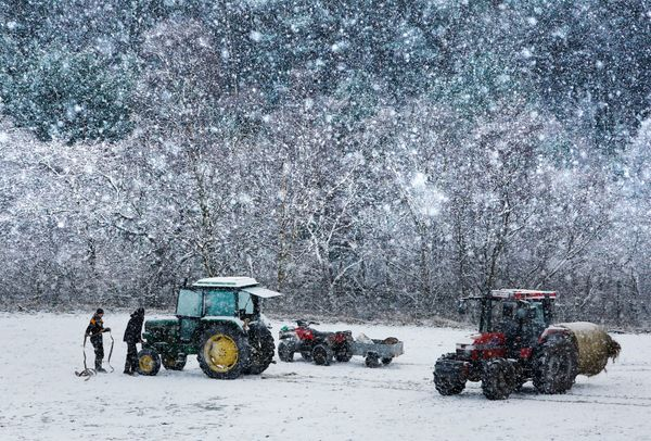 Farm workers near the Balmoral Estate, Aberdeenshire, as wintry weather swept the UK, with travellers left stranded as heavy