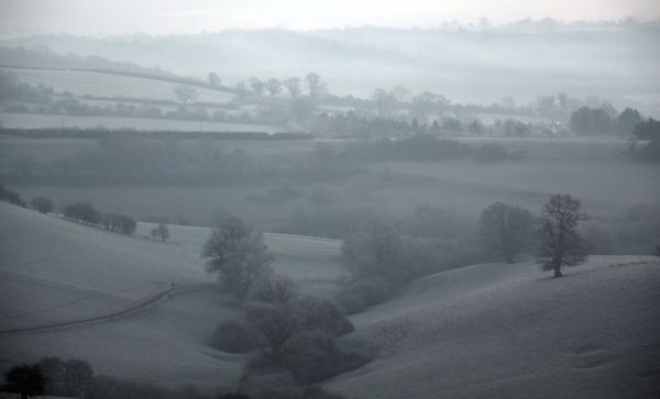 A mist and frost covered landscape looking from Evercreech in Somerset