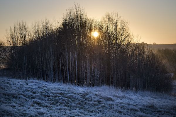A frost covered landscape at sunrise over Buford in Oxfordshire as most of the UK woke to freezing temperatures