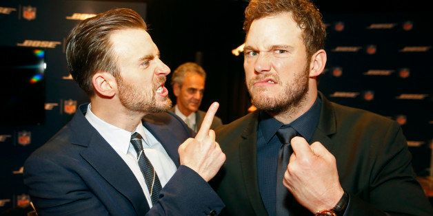 EXCLUSIVE - Chris Evans, left, and Chris Pratt backstage at the 4th annual NFL Honors at the Phoenix Convention Center Sympho