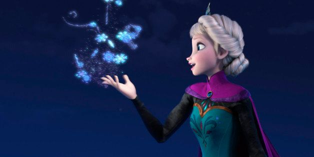 """This image released by Disney shows Elsa the Snow Queen, voiced by Idina Menzel, in a scene from the animated feature """"Frozen"""