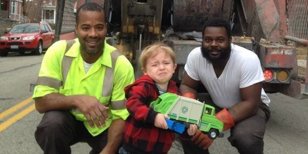 Toddler Finally Meets Garbage Men He Idolizes And He Can't