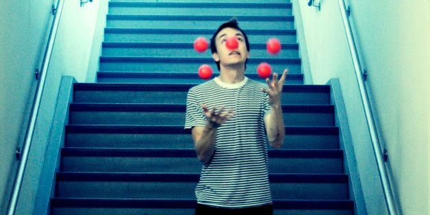 Apparently jugglers use balls filled with salt and in all honesty, the amazingly immature side of me was very amused!