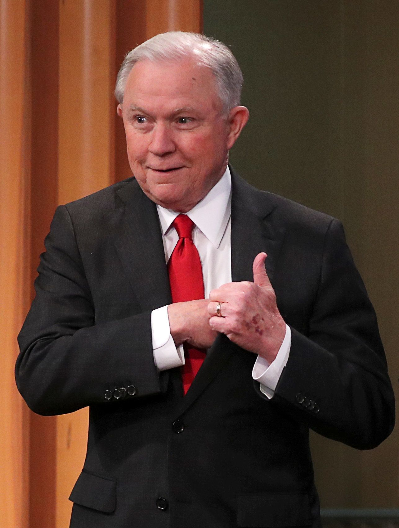 "U.S. Attorney General Jeff Sessions arrives to announce a criminal law enforcement action involving China; and a new Department of Justice initiative focusing on ""China's continued economic criminal activity"" during a news conference at the Justice Department in Washington, U.S., November 1, 2018. REUTERS/Jonathan Ernst"