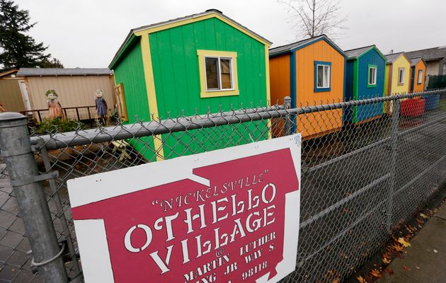 Tiny houses at a homeless encampment in Seattle. In the absence of legislation to provide incentives...