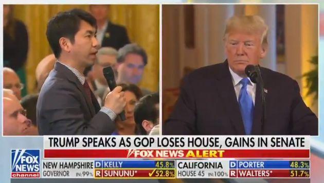 트럼프에게 영어로 질문해야 했던 일본 기자의