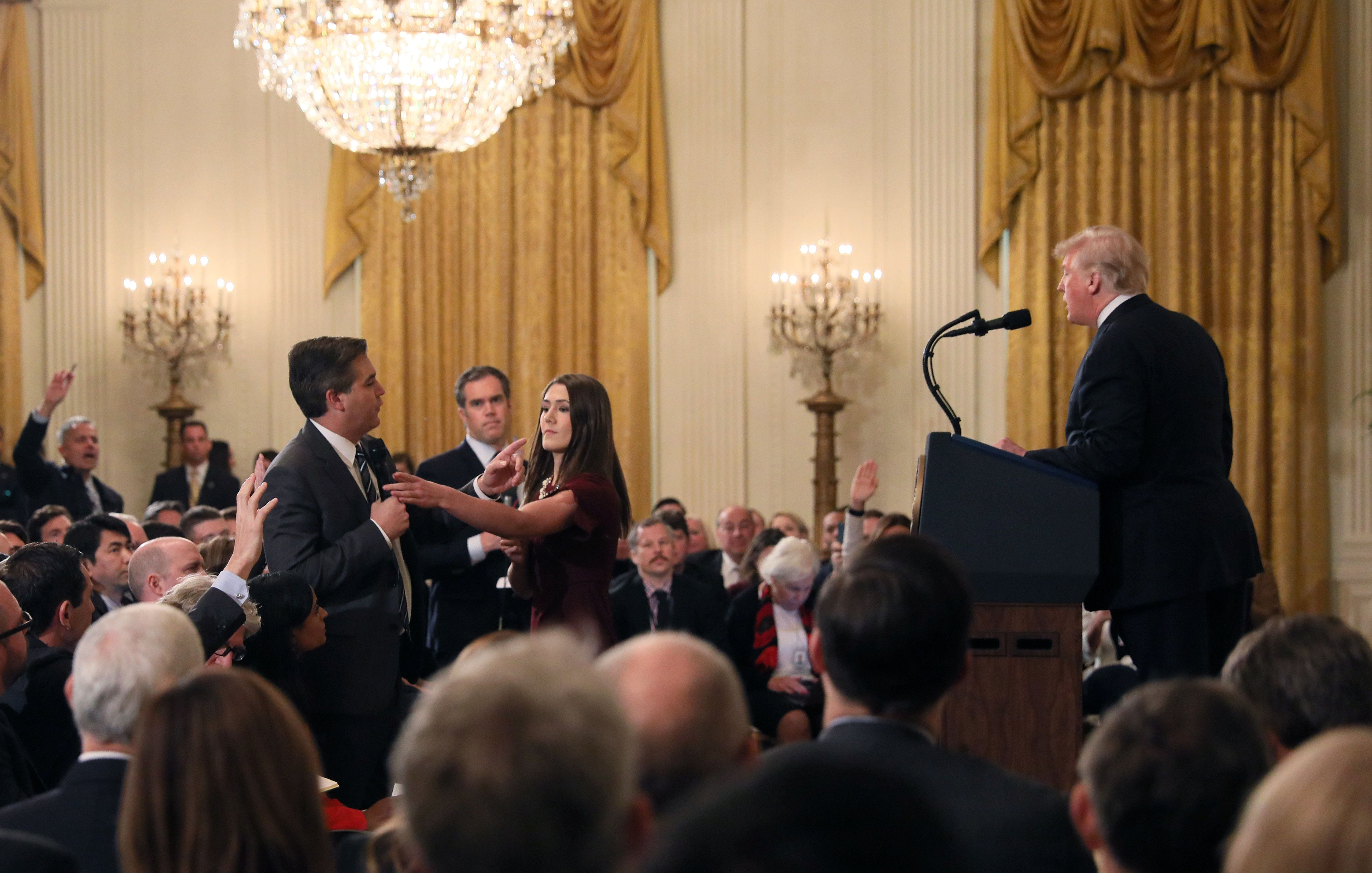 CNN's Jim Acosta questions U.S. President Donald Trump during his news conference following Tuesday's midterm U.S. congressional elections at the White House in Washington, U.S., November 7, 2018. REUTERS/Jonathan Ernst