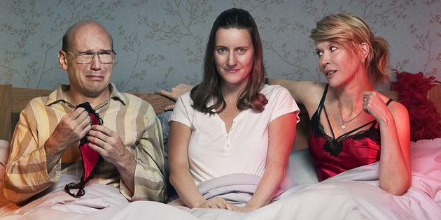 Left to right: David (Alex Macqueen), Sally (Catherine Shepherd) and Emma (Julia