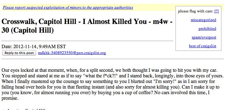 D C  Craigslist Missed Connections: Metro Is Where Love Is