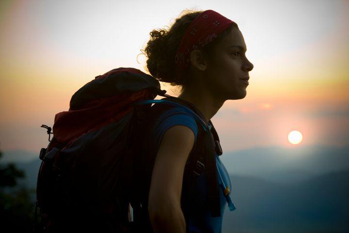 Hispanic teen backpacking in GA