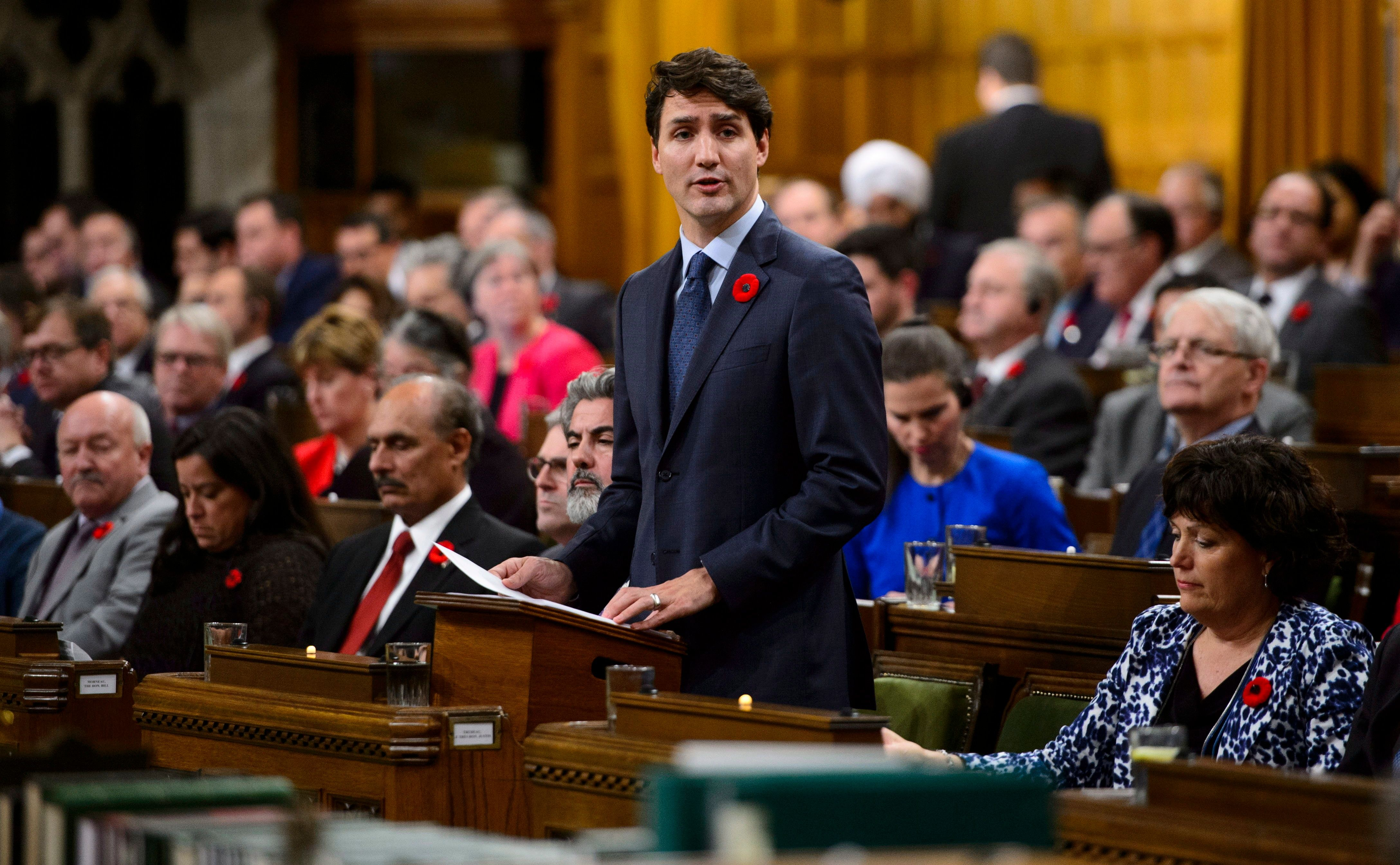 Canadian Prime Minister Justin Trudeau on Nov. 7 delivers a formal apology on behalf of his nation for turning away a ship fu