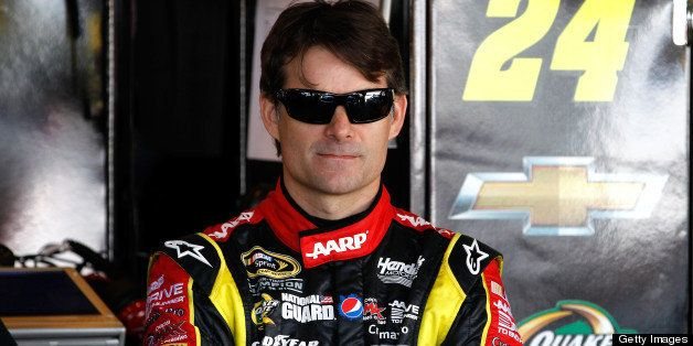 RICHMOND, VA - APRIL 26: Jeff Gordon, driver of the #24 Drive To End Hunger Chevrolet, stands in the garage during practice f