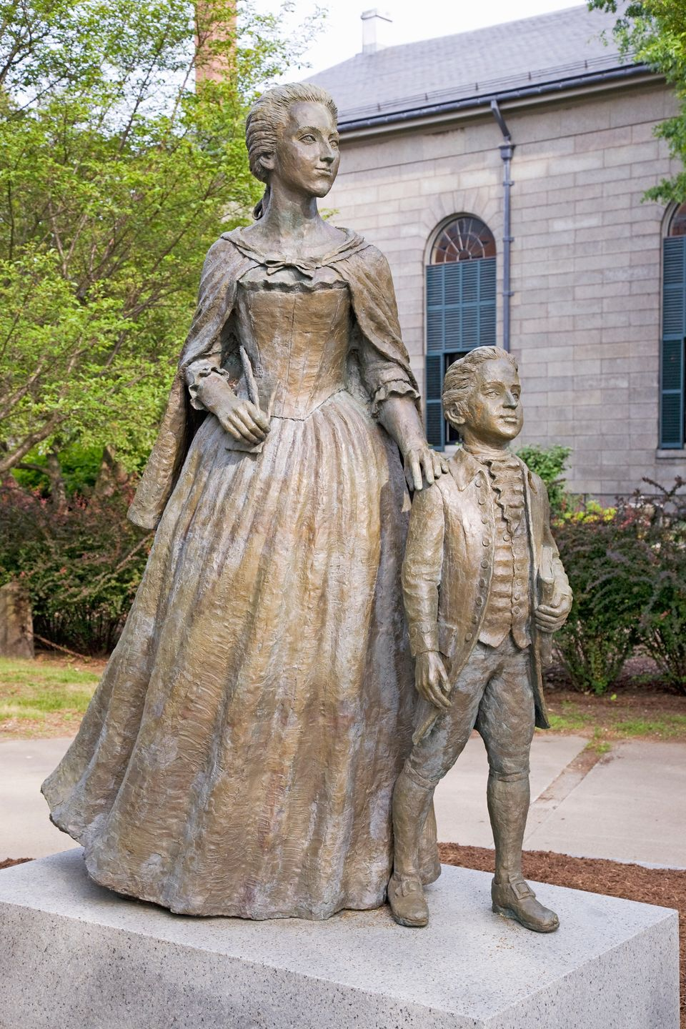 Statue of Abigail Adams and son John Quincy Adams, Quincy, MA., USA (Photo by Visions of America/UIG via Getty Images)