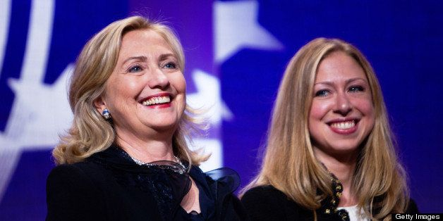 NEW YORK CITY- SEPTEMBER 22: Hillary Rodham Clinton (L), Secretary of State stands with her daughter Chelsea Clinton during t