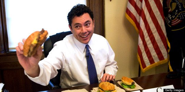 UNITED STATES - MARCH 03:  Rep. Jason Chaffetz, R-Utah, samples cheeseburger from the House food vendors as part of a taste t