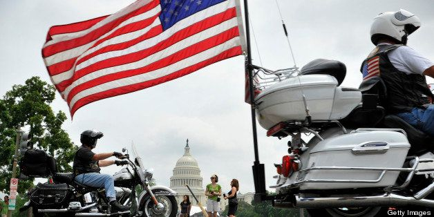 Washington, DC - May, 29: The annual Rolling Thunder parade of motorcycles passes the US Capitol as it winds through town to