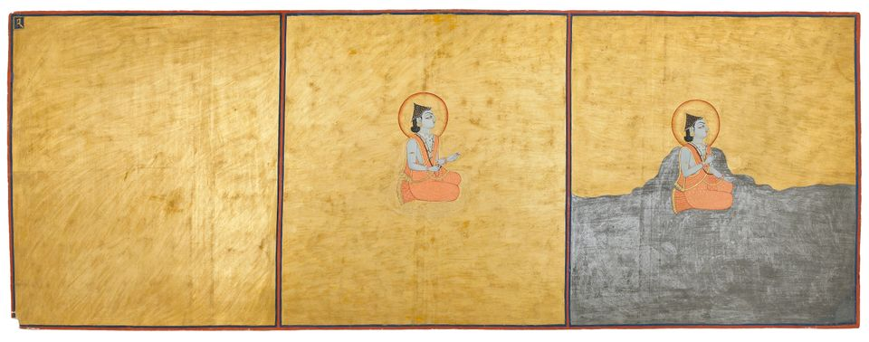 Folio 1 from the Nath Charit Bulaki India, Rajasthan, Jodhpur, 1823 (Samvat 1880) Opaque watercolor, gold and tin alloy on pa