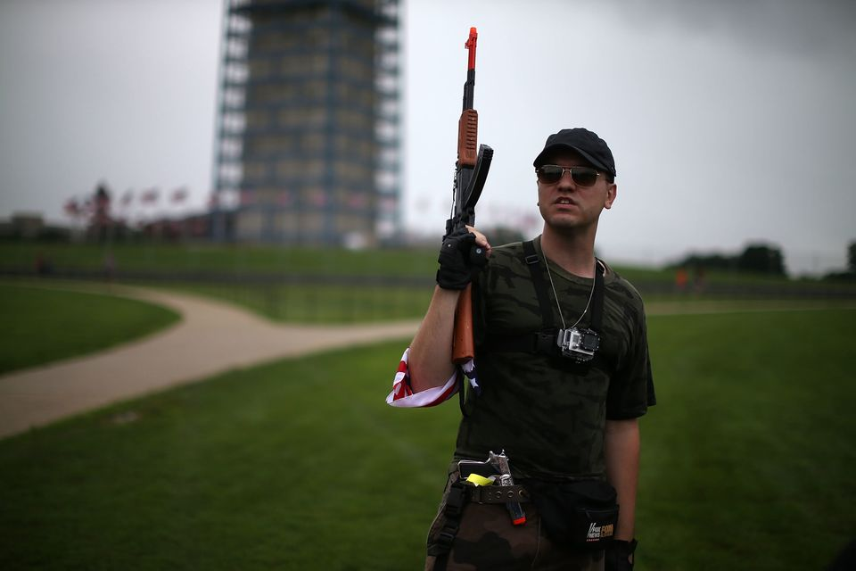 WASHINGTON, DC - JULY 03: Austin Petersen holds a toy gun during a rally on the grounds of the Washington Monument July 3, 20