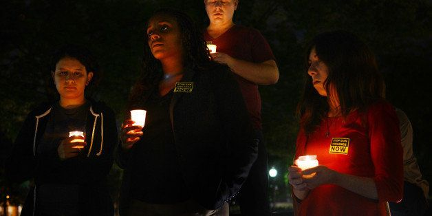 WASHINGTON, D.C., SEPTEMBER 16,  2013:  A candlelight vigil is held at Freedom Plaza for the victims of the Navy Yard attack