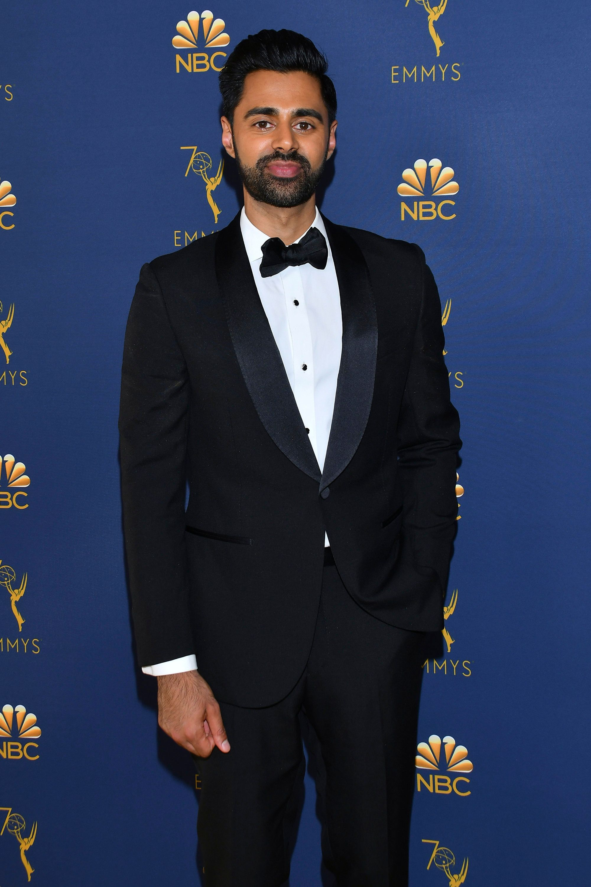 Hasan Minhaj arrives at the 70th Primetime Emmy Awards on Monday, Sept. 17, 2018, at the Microsoft Theater in Los Angeles. (Photo by Vince Bucci/Invision for the Television Academy/AP Images)