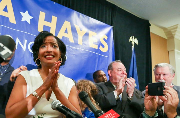 Jahana Hayes (left), who was named National Teacher of the Year in 2016, on Tuesday won her race to represent Connecticut's 5