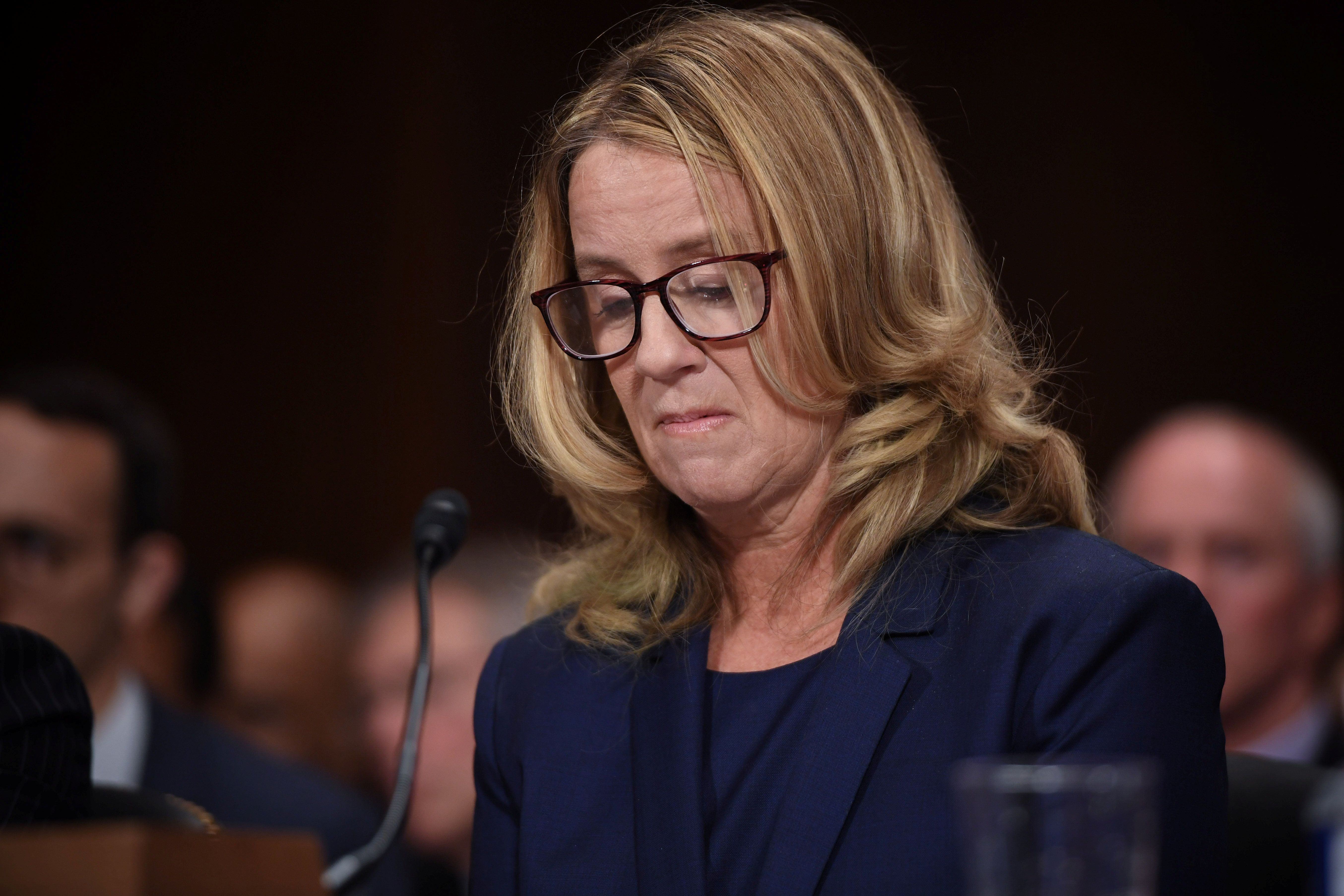 Christine Blasey Ford testifies in front of the US Senate Judiciary Committee confirmation hearing on Capitol Hill in Washington, DC, U.S., September 27, 2018. Saul Loeb/Pool via REUTERS