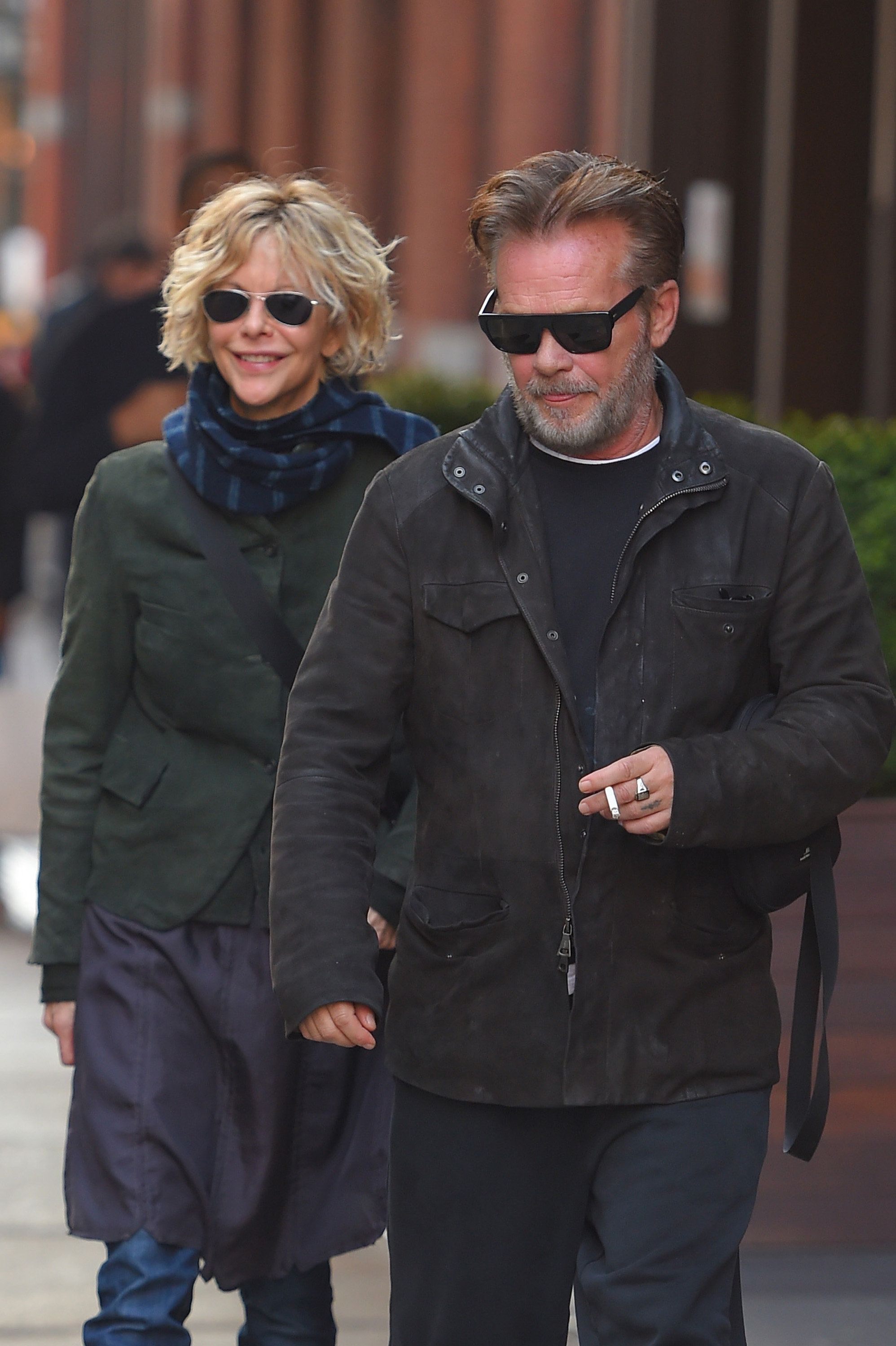 NEW YORK NY - NOVEMBER 03: Meg Ryan and  John Mellencamp sighting on November 3, 2014 in New York City.  (Photo by Josiah Kamau/BuzzFoto/FilmMagic)