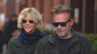 NEW YORK NY - NOVEMBER 03: Meg Ryan and  John Mellencamp sighting on November 3, 2014 in New York City.  (Photo by Josiah Kamau/BuzzFoto/FilmMagic)