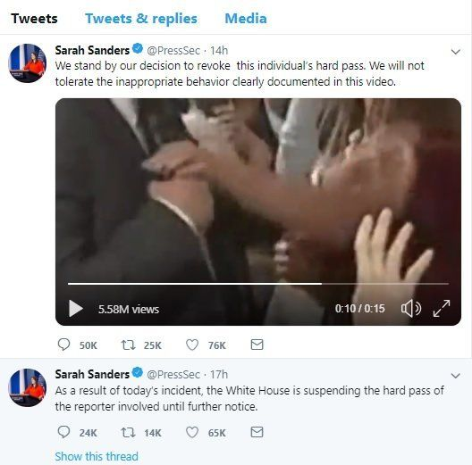White House press secretary Sarah Huckabee Sanders sent out this manipulated video on her official White House Twitter accoun