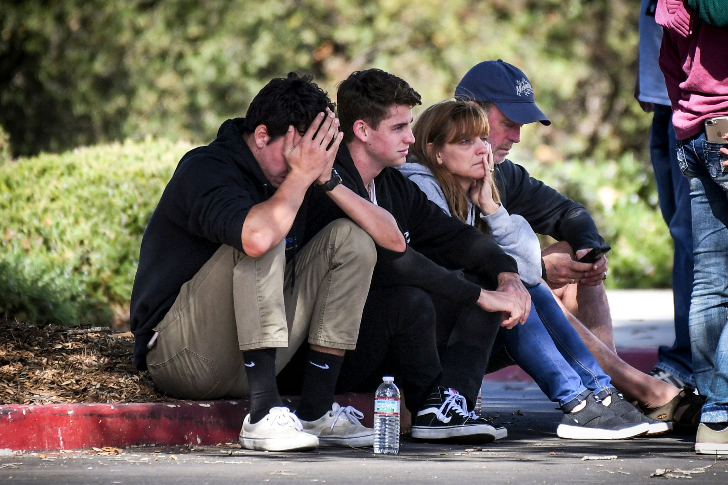 THOUSAND OAKS, CA - NOVEMBER 08: People awaiting word of loved ones from the Borderline Bar & Grill shooting in Thousand Oaks at the Alex Fiore Teen Center in Thousand Oaks, CA. 13 people including a sheriff deputy and the shooter were killed in a mass shooting at the bar overnight.  (Photo by David Crane/Digital First Media/Los Angeles Daily News via Getty Images)
