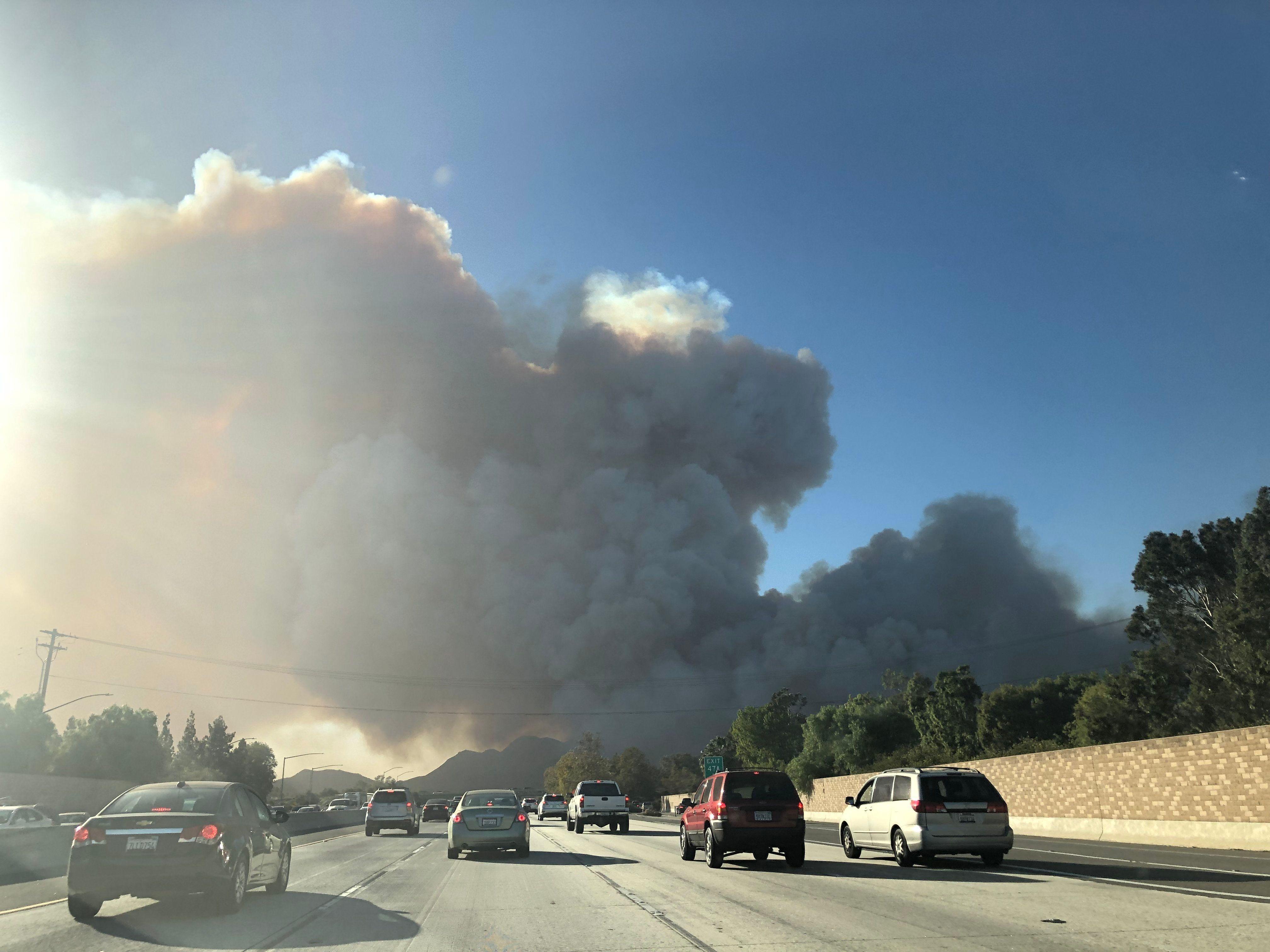 A wildfire is burning in Southern California.