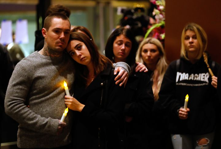 Mourners attend a vigil in Thousand Oaks, California, for the victims of the mass shooting.