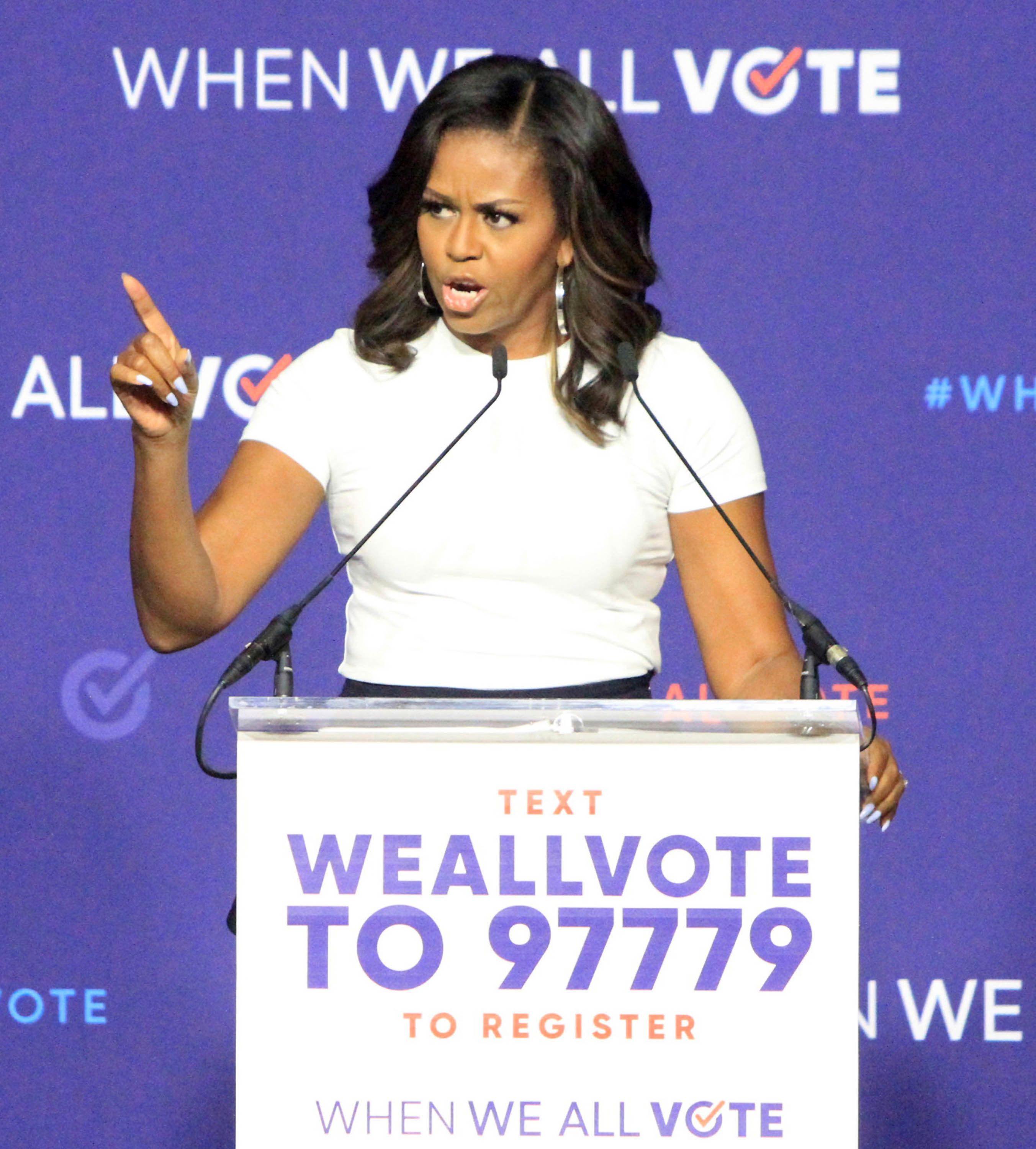 """Photo by: Raoul Gatchalian/STAR MAX/IPx 2018 9/23/18 Michelle Obama at the """"When We All Vote"""" Rally at Chaparral High School in Las Vegas, Nevada."""