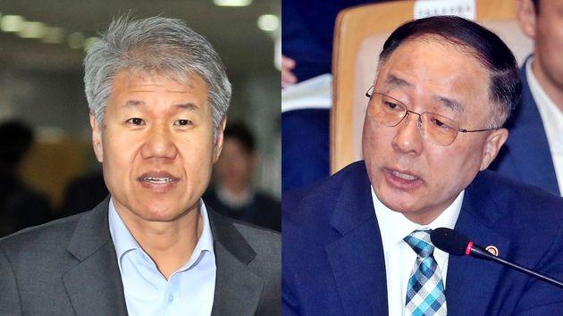 왼쪽: 김수현 새 청와대 정책실장 / 오른쪽: 홍남기 새 경제부총리