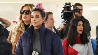 TOKYO, JAPAN - MARCH 02:  Kim Kardashian, Kourtney Kardashian and Khloe Kardashian are seen upon arrival at Tokyo Station on March 2, 2018 in Tokyo, Japan.  (Photo by Jun Sato/GC Images)