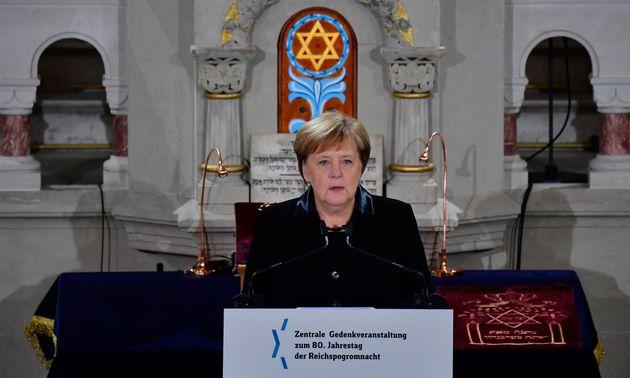 Angela Merkel bei einer Gedenkstunde zum 80. Jahrestag der Pogromnacht der Nazis.