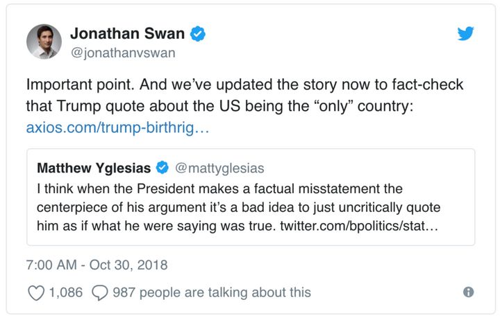 Jonathan Swan responds to a since-deleted tweet from journalist Matthew Yglesias.