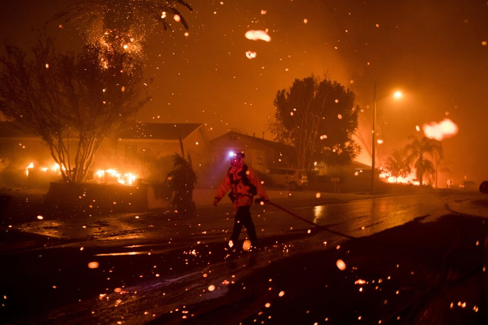 Embers push through the air in Thousand Oaks, California