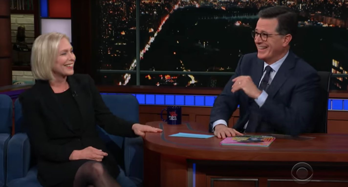 Gillibrand talks potential 2020 bid with Stephen Colbert.