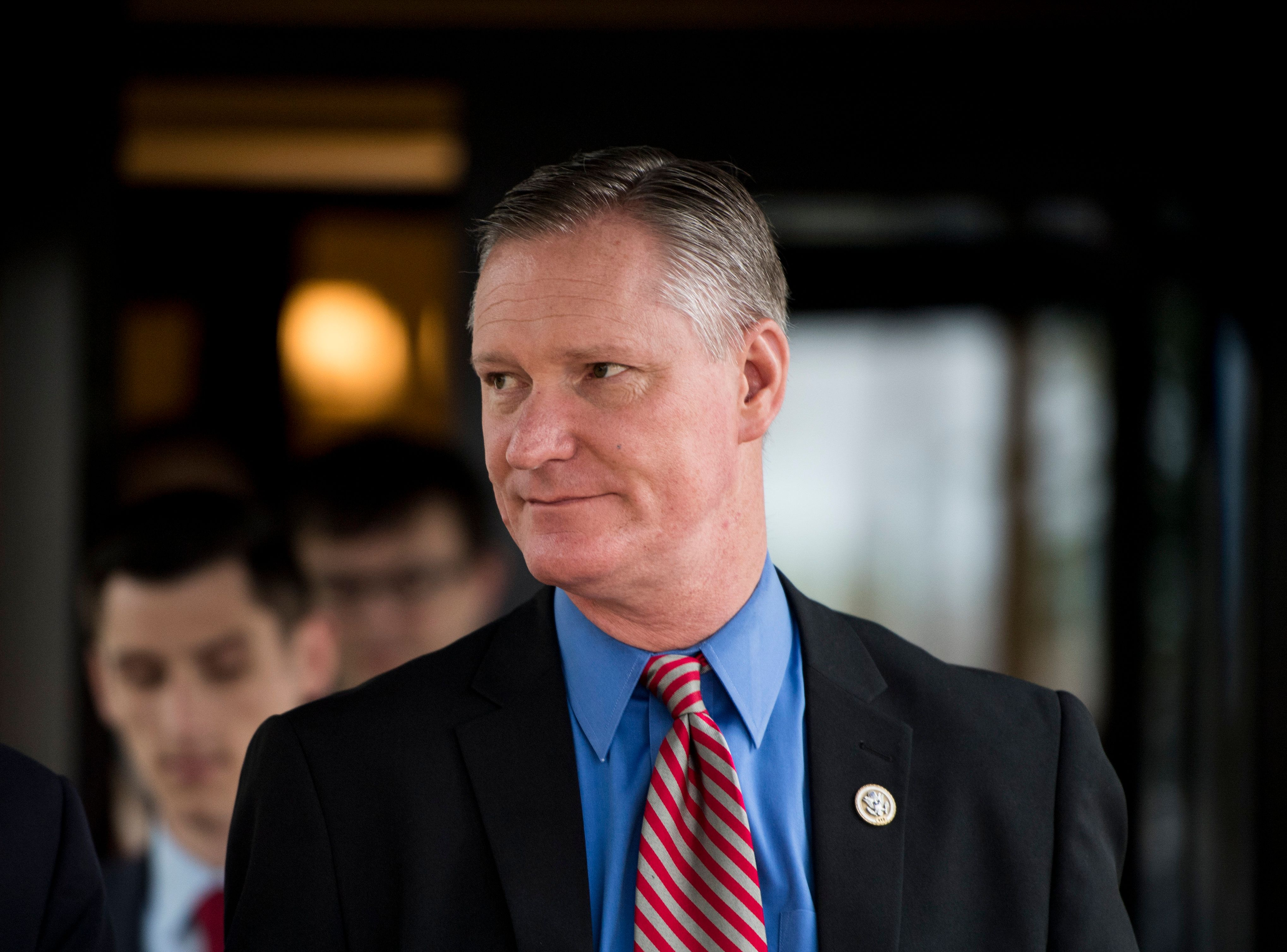 UNITED STATES - MAY 16: Rep. Steve Stivers, R-Ohio, leaves the House Republican Conference meeting at the Capitol Hill Club on Wednesday, May 16, 2018. (Photo By Bill Clark/CQ Roll Call)