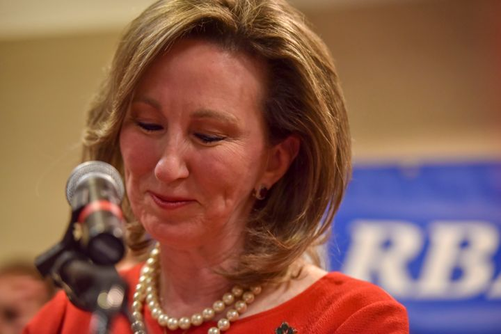 Rep. Barbara Comstock (R-Va.) delivers her concession speech after being defeated by state Sen. Jennifer Wexton (D) in Virgin