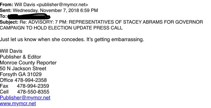 An email from the Monroe County Reporter's Will Davis to Stacey Abrams' campaign.