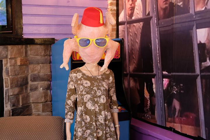 """Monica wearing a turkey on her head,from """"The One With All the Thanksgivings"""" episode in 1998, inspired a statue in the Lincoln Park bar."""