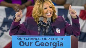 FILE - In this Nov. 2, 2018, file photo, Democrat Lucy McBath speaks during a rally for Democratic gubernatorial candidate Stacey Abrams, at Morehouse College in Atlanta. McBath, an African-American gun control advocate making her first run for public office, defeated Republican Rep. Karen Handel in Georgia's 6th District. (Alyssa Pointer/Atlanta Journal-Constitution via AP, File)
