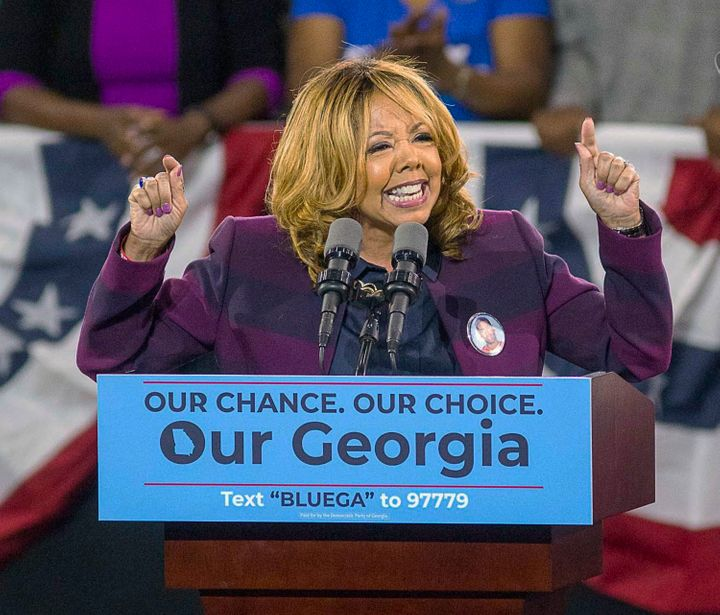 Lucy McBath speaks during a rally for Democratic gubernatorial candidate Stacey Abrams at Morehouse College in Atlanta on Nov