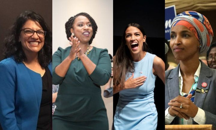 New Democratic congresswomen: Rashida Tlaib in Michigan, Ayanna Pressley in Massachusetts, Alexandria Ocasio-Cortez in New Yo