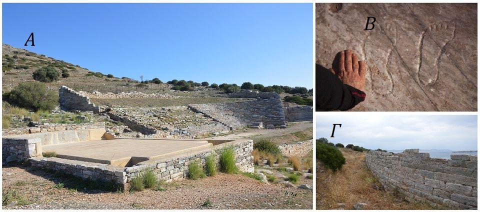 Φωτ.3. A. To Θέατρο από τα ΝοτιοΔυτικά Β. Περιγράμματα πελμάτων σε ακιδογράφημα στα βράχια του Θορικού...