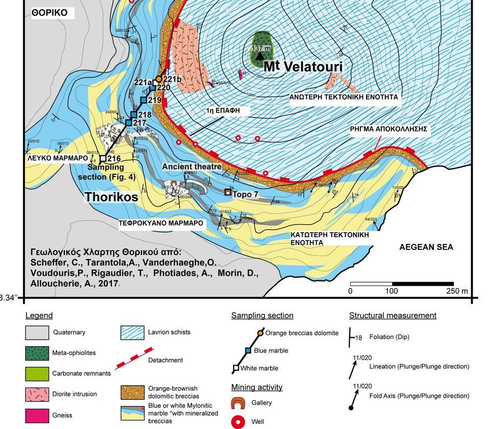 Φωτ.6. Γεωλογικός Χάρτης του Θορικού από: Scheffer, C., Tarantola,Α., Vanderhaeghe,O. Voudouris,P., Rigaudier,...