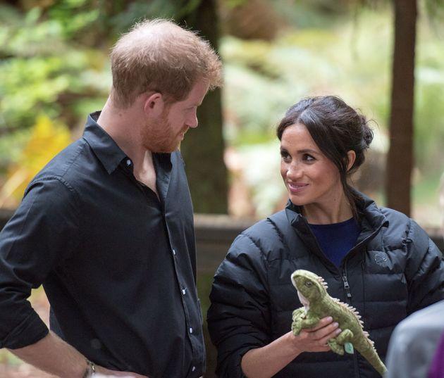 Herzogin Meghan lächelt Prinz Harry oft von unten